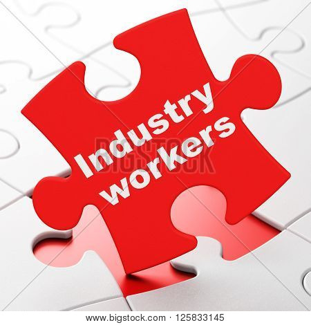 Industry concept: Industry Workers on puzzle background