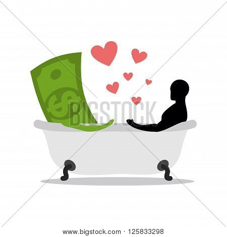 love of money. Dollar and man in bath. Man and cash washing in bath. Joint bathing. Passion feelings among lovers. Romantic illustration washed with currency