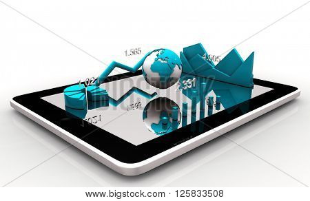 Modern financial instruments (graphs, charts and Earth globe) on a tablet screen. 3d rendering.