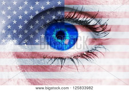 Banner With Usa Eye Looks At Viewer Concept