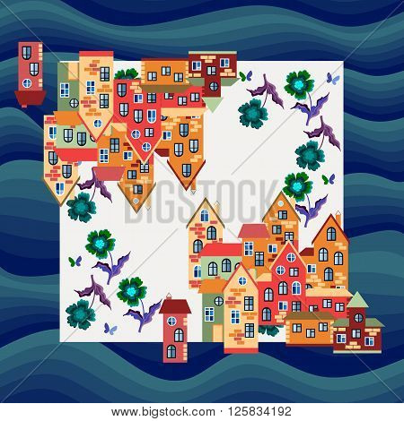 City by the sea. Silk neck scarf or bandana print. Kerchief square pattern design style for print on fabric. Vector illustration with bright houses and flowers on marine background.
