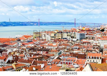 View of Lisbon with water surface Portugal