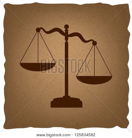 Scales of Justice sign. Coffee style on old paper.