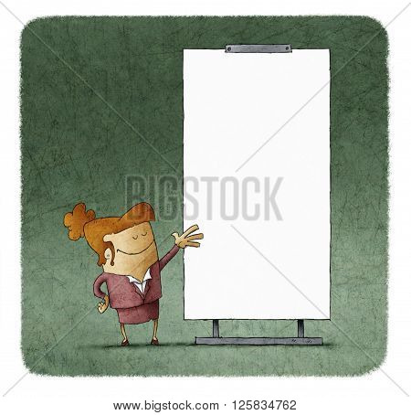 Confident businesswoman giving a presentation at white board