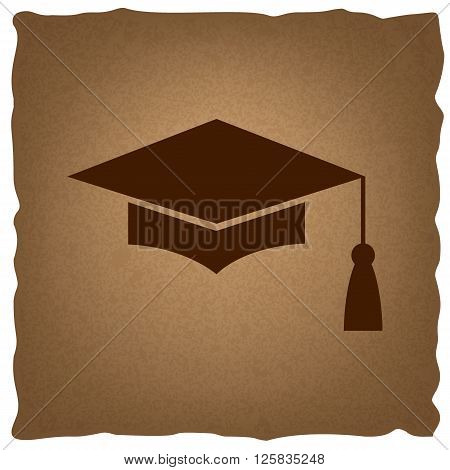 Mortar Board or Graduation Cap, Education symbol. Coffee style on old paper.