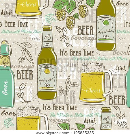 Beige seamless patterns with set of beer bottle mug hop and text. Ideal for printing onto fabric and paper or scrap booking.