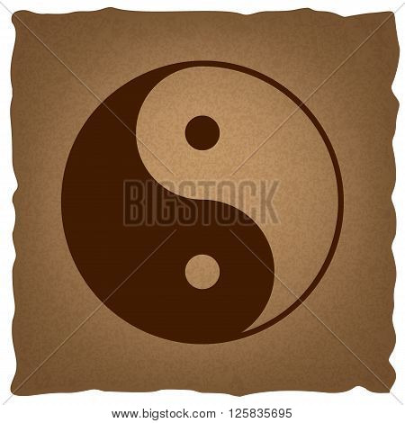 Ying yang symbol of harmony and balance. Coffee style on old paper.
