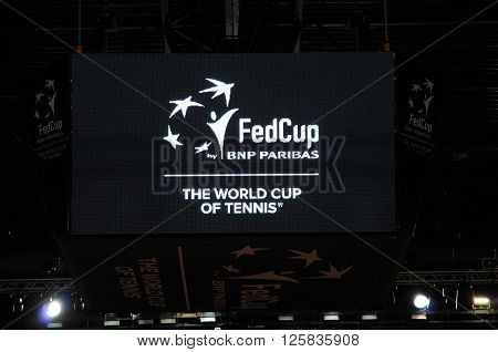 Fed Cup By Bnp Paribas Logo In A Stadium