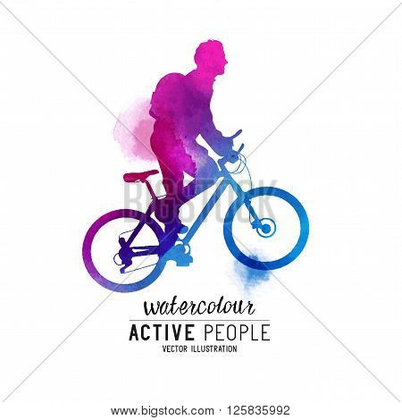 Watercolour Man Riding A Bike. A cyclist keeping fit. Vector illustration.