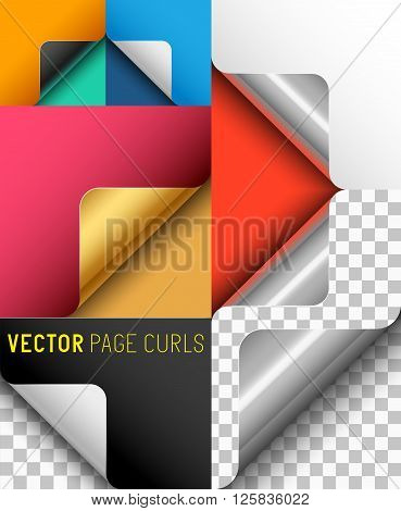 Vector Paper Page Curl Set. A collection of page curls. Vector illustration.