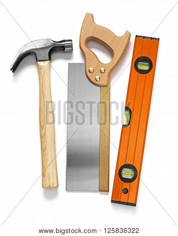 Selection of eork tools isolated on a white background