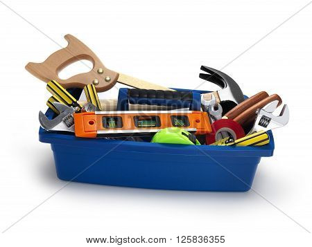 Tool Box filled with work tools isolated on white
