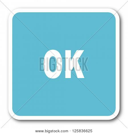 ok blue square internet flat design icon