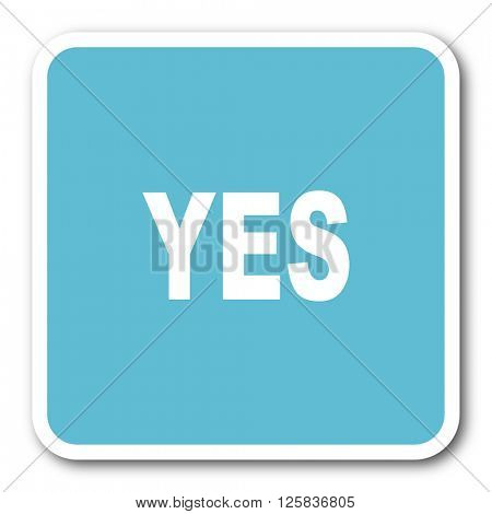 yes blue square internet flat design icon