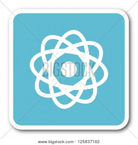 atom blue square internet flat design icon