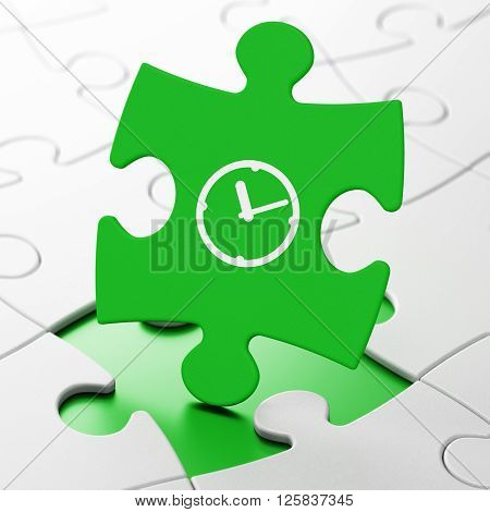 Time concept: Clock on puzzle background
