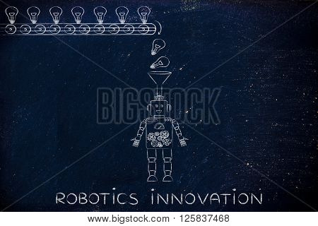 Funny Robot With Funnel Collecting Idea, Robotics Innovation