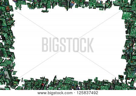 Electronic circuit elements frame complex 3d illustration horizontal over white