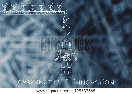 Robot With Funnel Collecting Knowledge, Cybernetics & Innovation