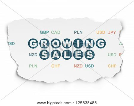 Business concept: Growing Sales on Torn Paper background