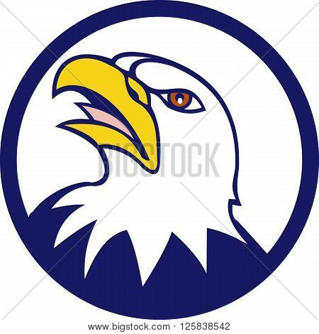Illustration of an angry american bald eagle head looking up to the side set inside circle done in cartoon style.