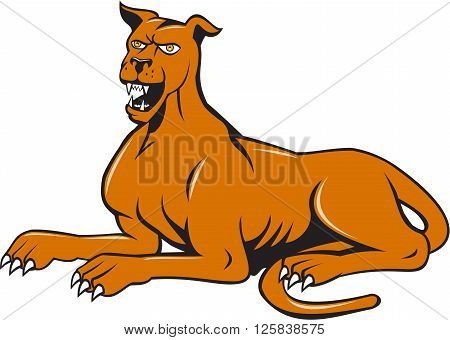 Illustration of a mastiff dog mongrel sitting barking set on isolated white background done in cartoon style.