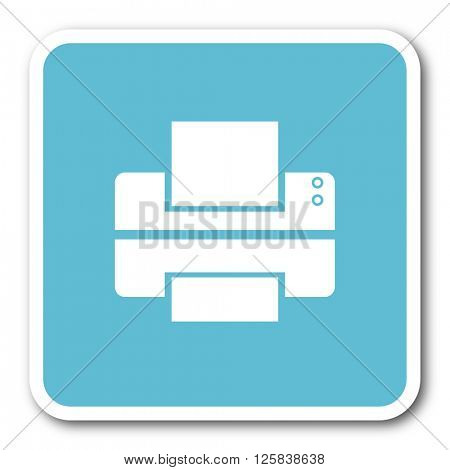 printer blue square internet flat design icon