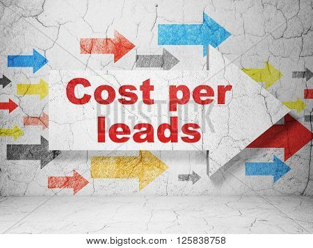 Business concept: arrow with Cost Per Leads on grunge wall background