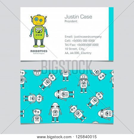 Cute Boy & Girl Robot cartoon character educational flat icon &business card template. School after-school kids' activities technology education club business sign concept. Sample text. Layered editable