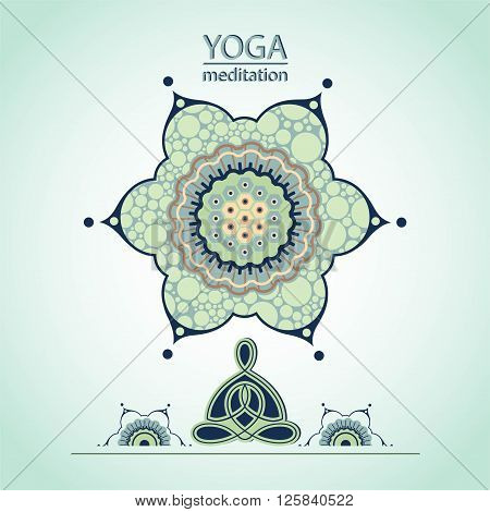 yoga lotus position on the background of a decorative flower