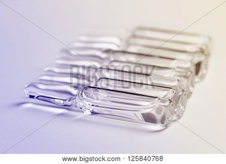 ampoule set with a liquid of medicine