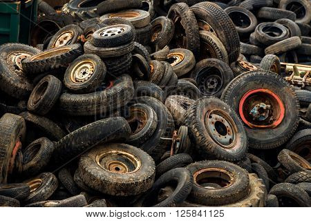 tires on junkyard