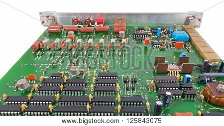 electronic circuit board on a white background
