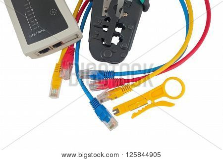 Network tester and crimping tool with RJ45 connector on a white background