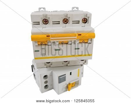 Automatic circuit breaker isolated on a white background