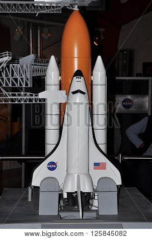 FLORIDA,USA - DEC 20: Space shuttle model in Kennedy Space Center Visitor Complex on Dec. 20, 2010 in Cape Canaveral, Florida, USA.