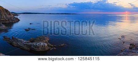 Sea Coastline Sunrise Panorama.