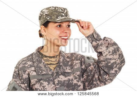 Portrait of soldier in the military uniform isolated