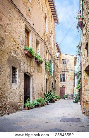 Captivating narrow street of old Pienza town in Tuscany