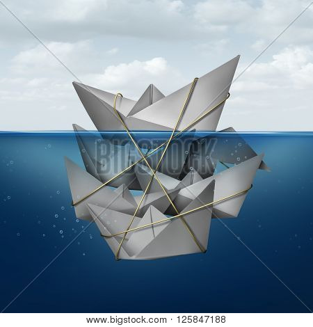 Living off others concept and corner the market symbol as a dominant paper boat dominating a group of smaller boats tied together helping the leader float above water as a metaphor for leadership.
