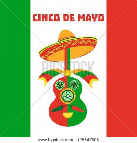 Mexican Fiesta party advertisement. Holiday Cinco de mayo. Design idea to advertise fiesta party in Mexica. Template for fiesta decoration. Vector illustration