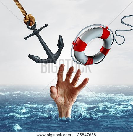 life and death concept and sink or swim symbol as a drowning person reaching out for help but is offered two options opposite options as a heavy anchor or a light lifesaver as a 3D illustration.