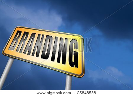 branding your name or brand product and trademark promotion road sign billboard