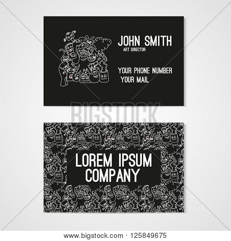 Business card template whit funny doodle monstes. Corporate identity. Illustration in white and black colors.