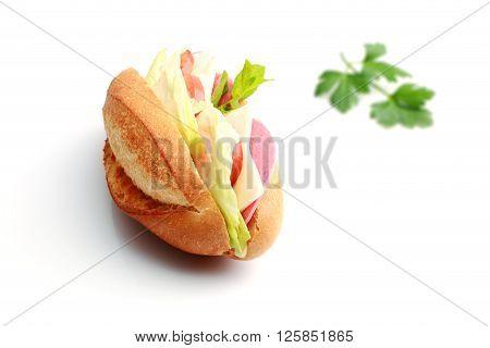 Fresh wheat bread vegetarian baguette sandwich on background