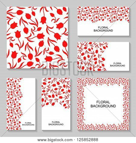 Vector illustrations of tulips flowers banners set. Tulips background set. Tulips flowers pattern seamless