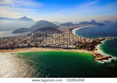 Aerial View Of Famous Copacabana Beach And Ipanema Beach In Rio De Janeiro