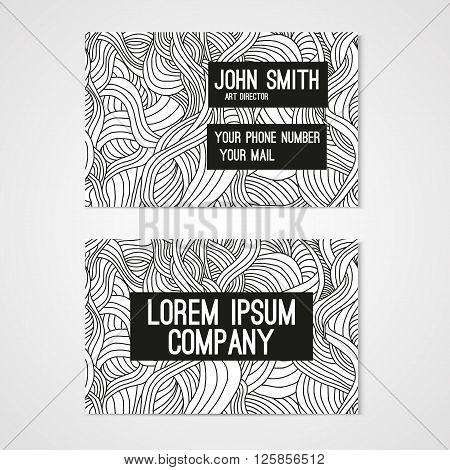 Business card template whit hand-drawn waves. Corporate identity.