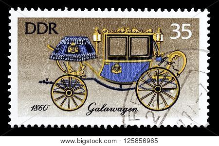 GERMAN DEMOCRATIC REPUBLIC - CIRCA 1978 : Cancelled postage stamp printed by German Democratic Republic, that shows Gala carriges.