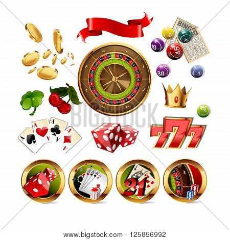 Big Set of Casino Gambling Elements and Icons Including Roulette Wheel, Playing Cards, Dice, Bingo Balls and Cards. Vector Illustration.